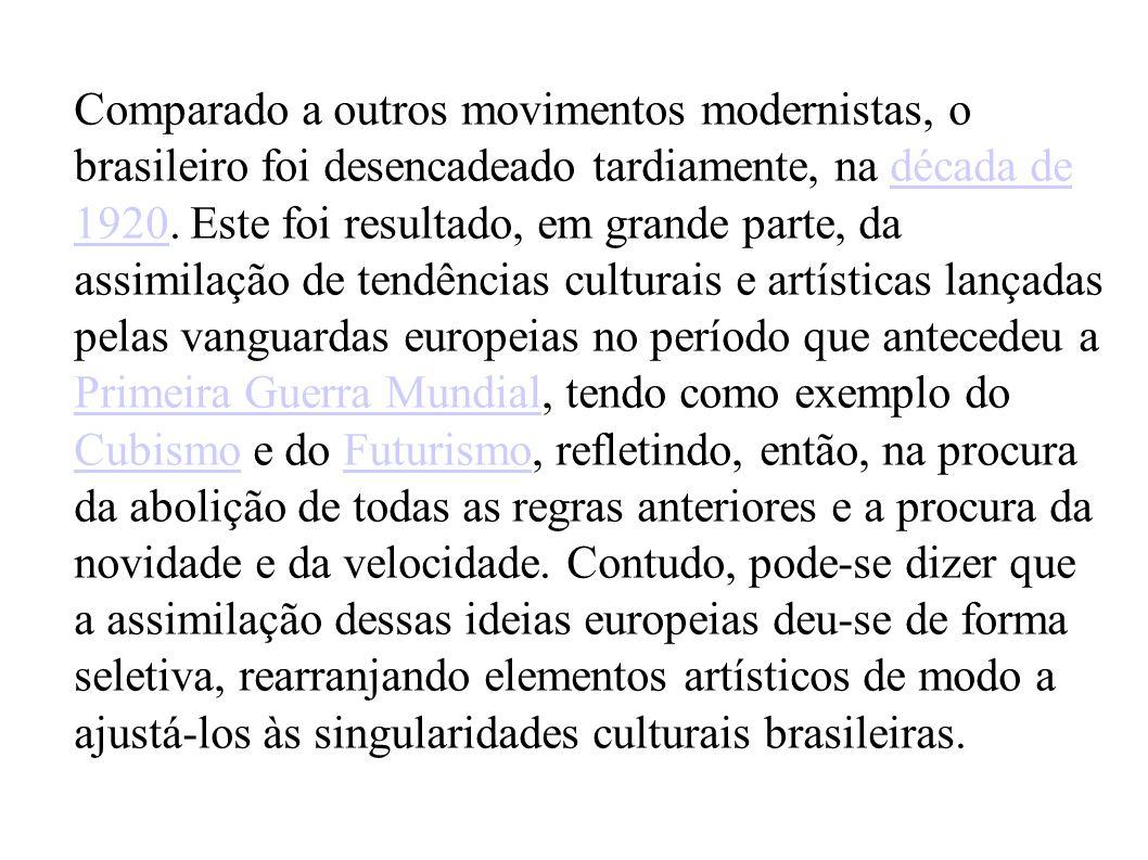 Comparado a outros movimentos modernistas, o brasileiro foi desencadeado tardiamente, na década de 1920.