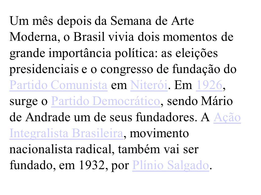 Um mês depois da Semana de Arte Moderna, o Brasil vivia dois momentos de grande importância política: as eleições presidenciais e o congresso de fundação do Partido Comunista em Niterói.