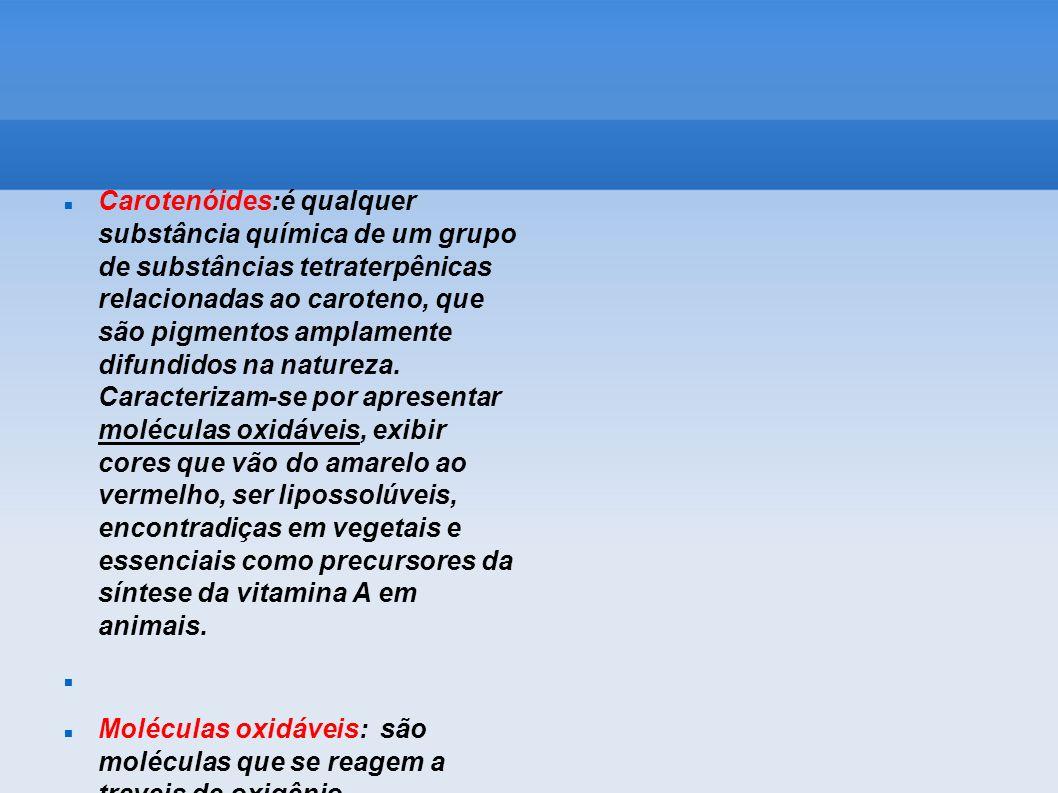 Carotenóides:é qualquer substância química de um grupo de substâncias tetraterpênicas relacionadas ao caroteno, que são pigmentos amplamente difundidos na natureza. Caracterizam-se por apresentar moléculas oxidáveis, exibir cores que vão do amarelo ao vermelho, ser lipossolúveis, encontradiças em vegetais e essenciais como precursores da síntese da vitamina A em animais.