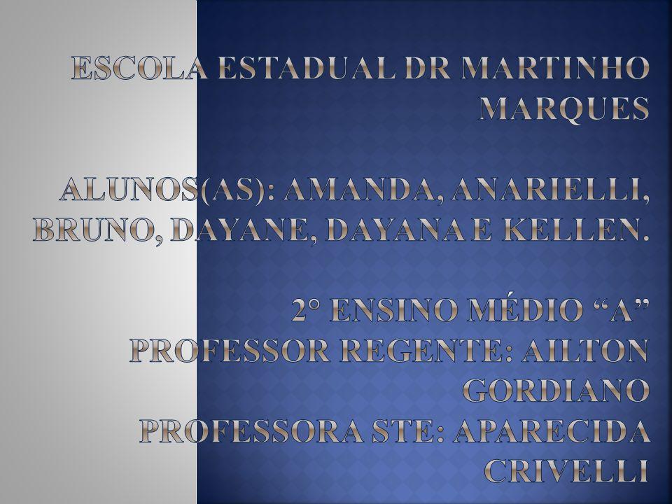 Escola Estadual Dr Martinho Marques Alunos(as): Amanda, Anarielli, Bruno, Dayane, Dayana e Kellen.