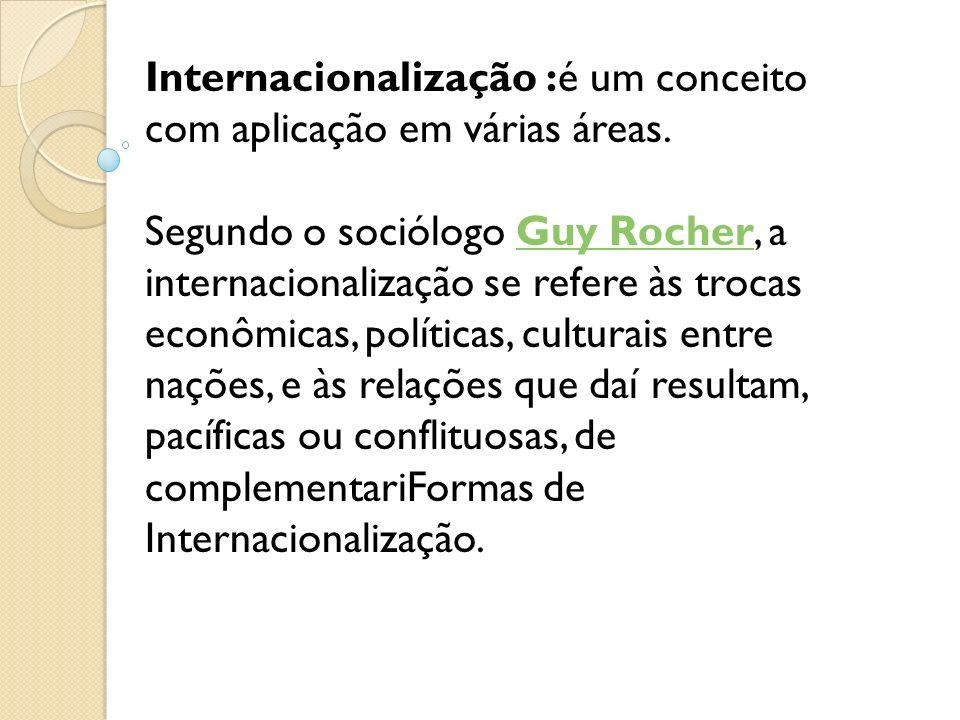 Internacionalização :é um conceito com aplicação em várias áreas