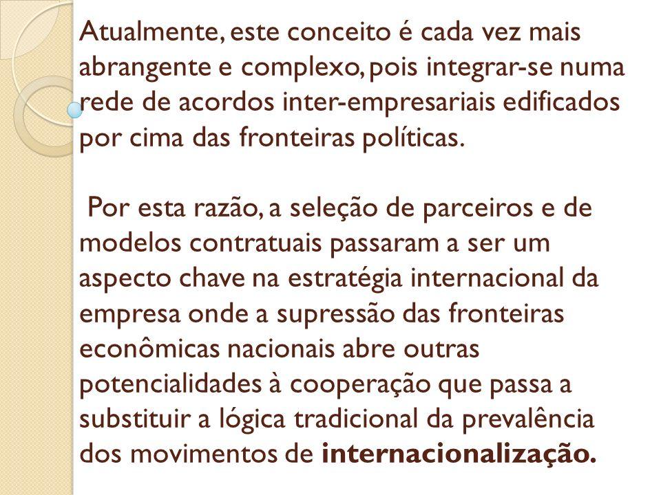 Atualmente, este conceito é cada vez mais abrangente e complexo, pois integrar-se numa rede de acordos inter-empresariais edificados por cima das fronteiras políticas.