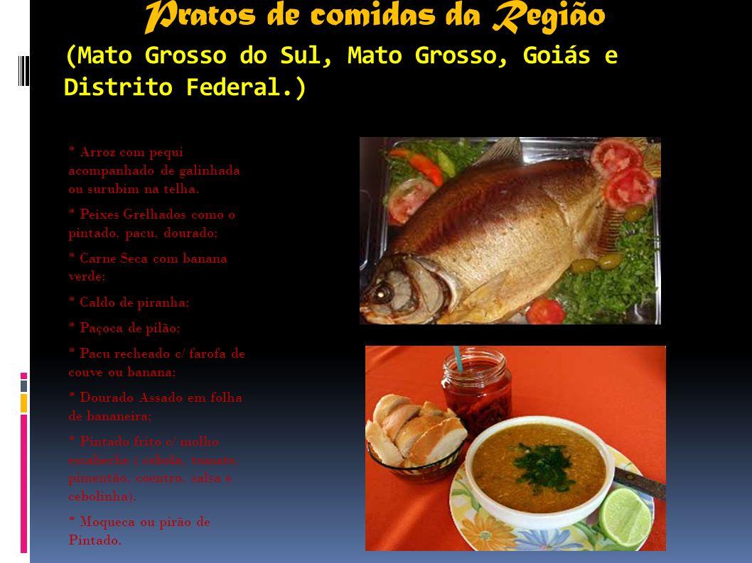 Pratos de comidas da Região (Mato Grosso do Sul, Mato Grosso, Goiás e Distrito Federal.)