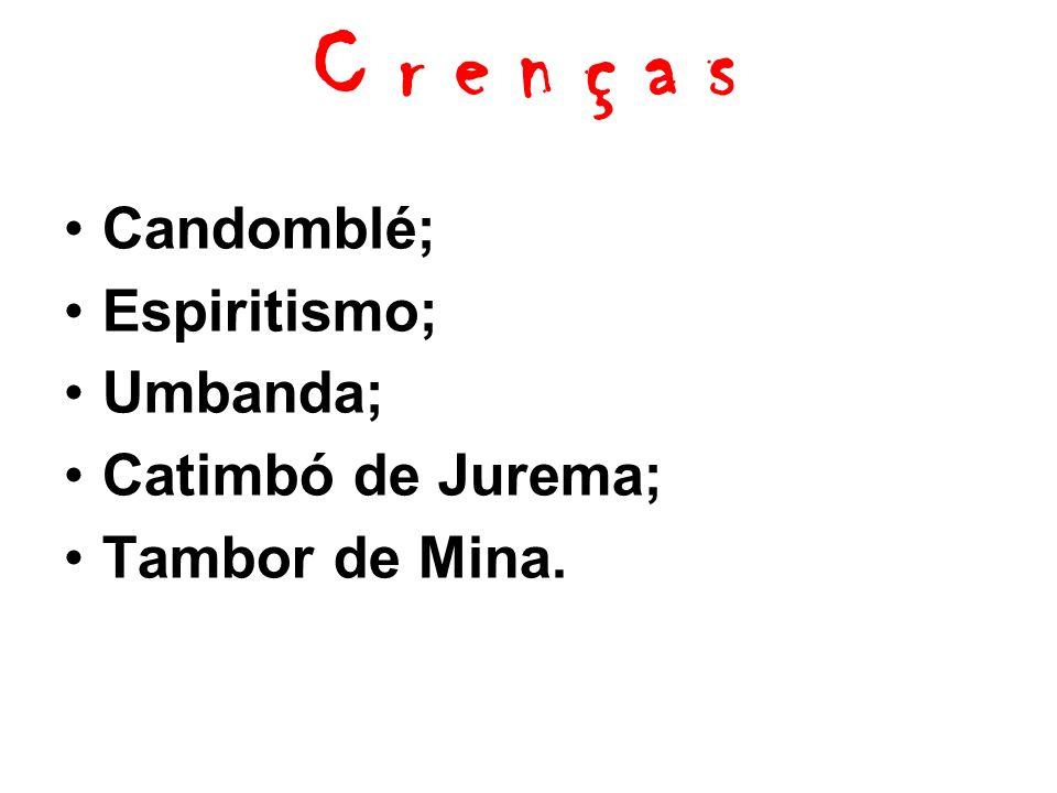 C r e n ç a s Candomblé; Espiritismo; Umbanda; Catimbó de Jurema;
