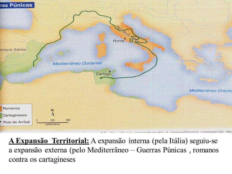 A Expansão Territorial: A expansão interna (pela Itália) seguiu-se a expansão externa (pelo Mediterrâneo – Guerras Púnicas , romanos contra os cartagineses
