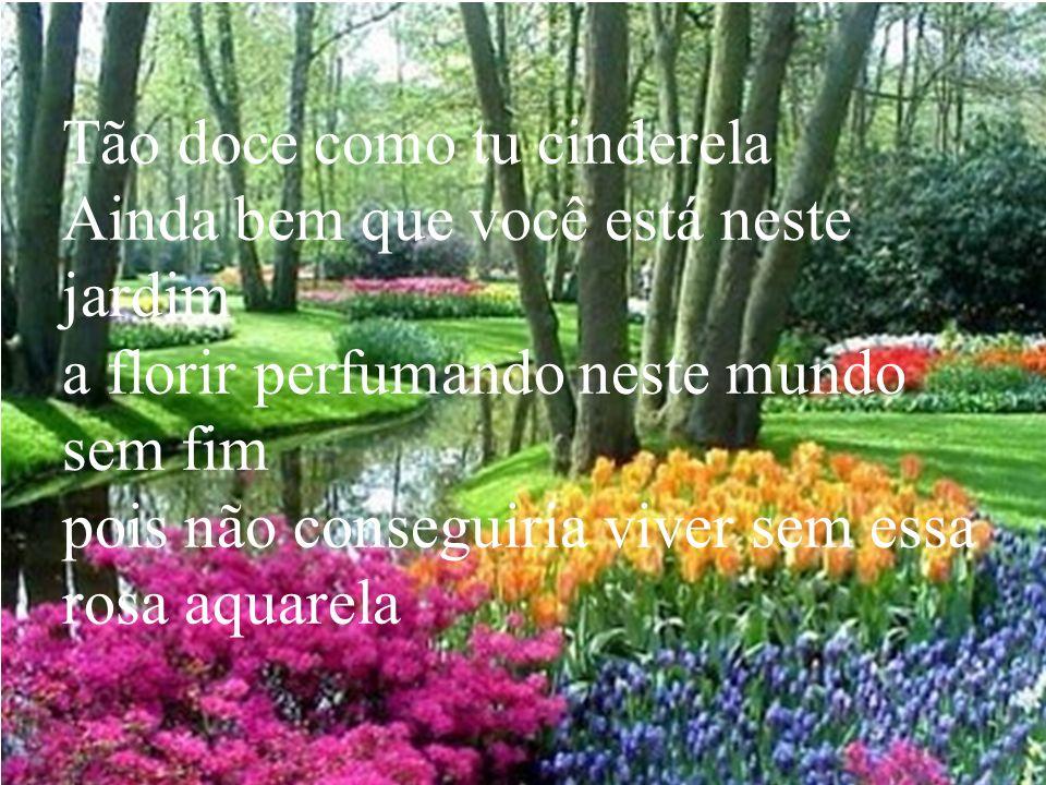 Tão doce como tu cinderela Ainda bem que você está neste jardim a florir perfumando neste mundo sem fim pois não conseguiria viver sem essa rosa aquarela