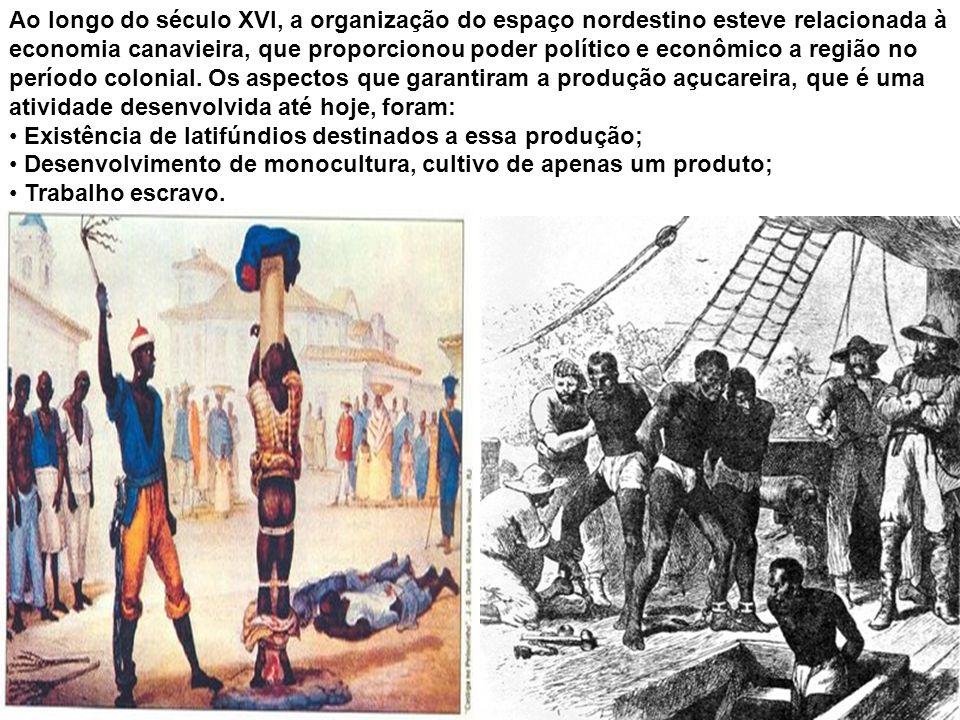 Ao longo do século XVI, a organização do espaço nordestino esteve relacionada à economia canavieira, que proporcionou poder político e econômico a região no período colonial. Os aspectos que garantiram a produção açucareira, que é uma atividade desenvolvida até hoje, foram: