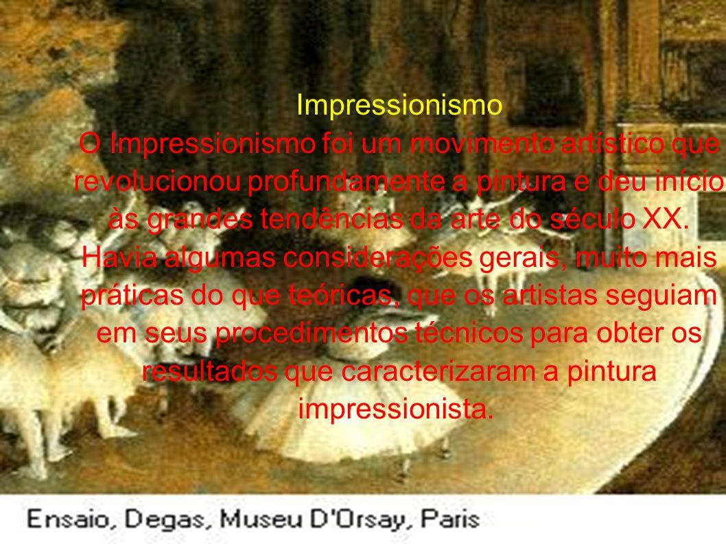 Impressionismo O Impressionismo foi um movimento artístico que revolucionou profundamente a pintura e deu início às grandes tendências da arte do século XX.