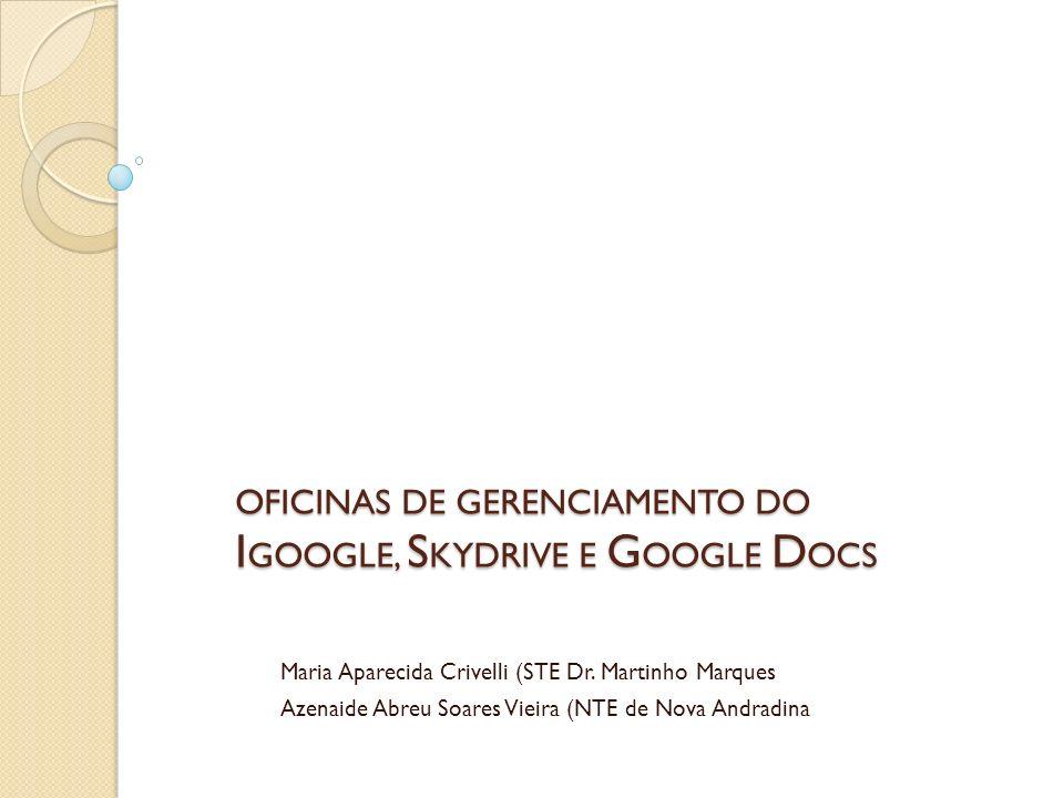 OFICINAS DE GERENCIAMENTO DO IGOOGLE, SKYDRIVE E GOOGLE DOCS