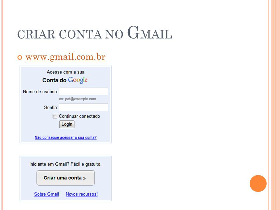 CRIAR CONTA NO GMAIL www.gmail.com.br