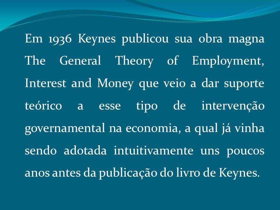 Em 1936 Keynes publicou sua obra magna The General Theory of Employment, Interest and Money que veio a dar suporte teórico a esse tipo de intervenção governamental na economia, a qual já vinha sendo adotada intuitivamente uns poucos anos antes da publicação do livro de Keynes.
