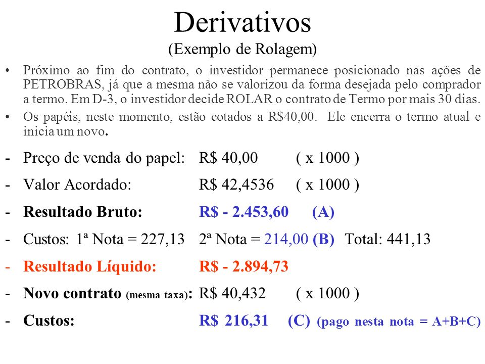 Derivativos (Exemplo de Rolagem)
