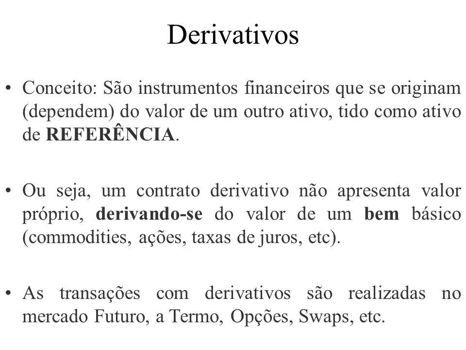 Derivativos Conceito: São instrumentos financeiros que se originam (dependem) do valor de um outro ativo, tido como ativo de REFERÊNCIA.
