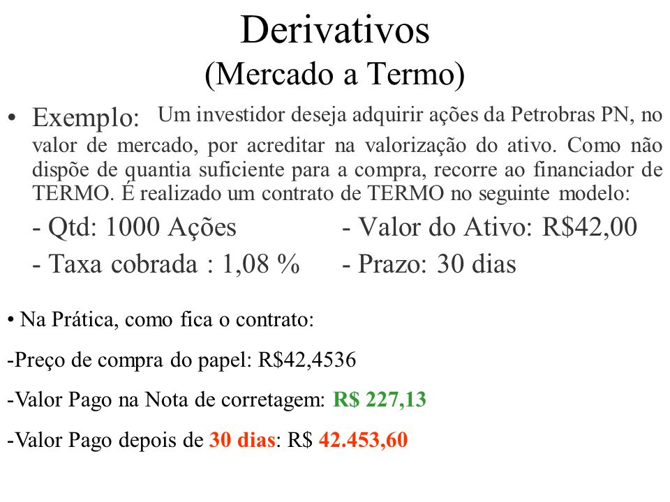 Derivativos (Mercado a Termo)