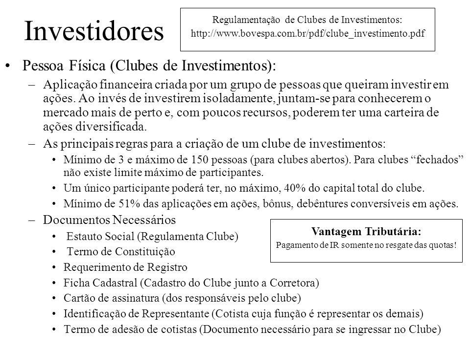 Investidores Pessoa Física (Clubes de Investimentos):