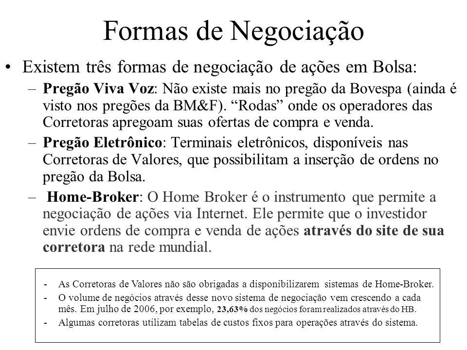 Formas de Negociação Existem três formas de negociação de ações em Bolsa: