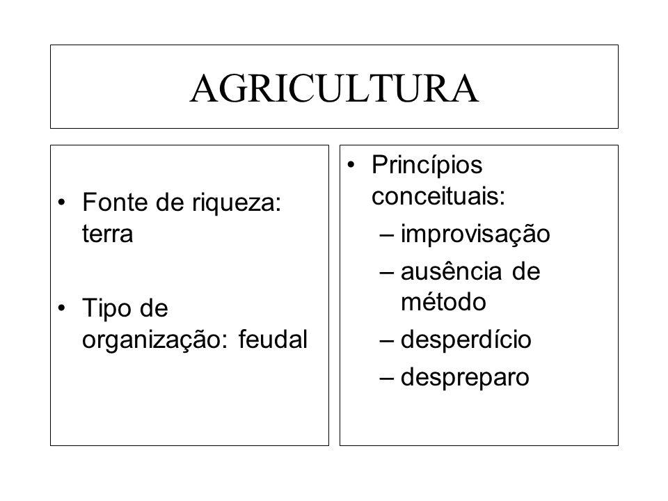 AGRICULTURA Princípios conceituais: Fonte de riqueza: terra