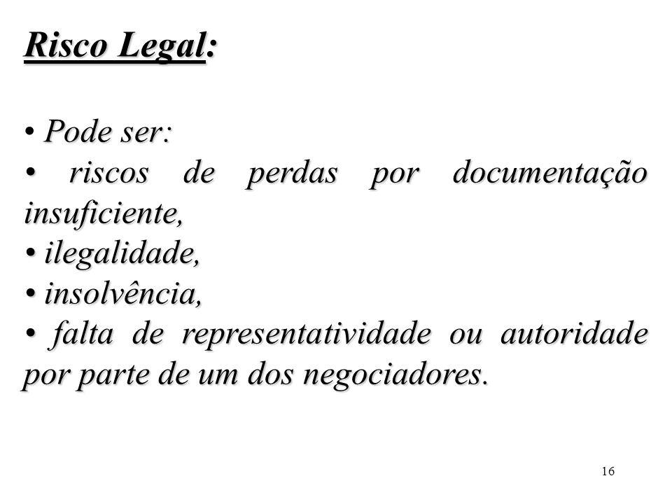 Risco Legal: • Pode ser: