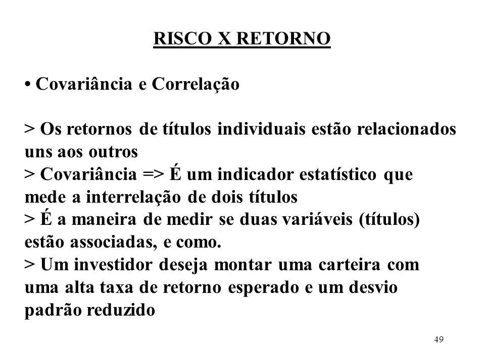 RISCO X RETORNO • Covariância e Correlação. > Os retornos de títulos individuais estão relacionados uns aos outros.