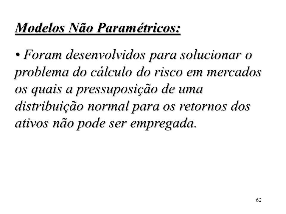 Modelos Não Paramétricos: • Foram desenvolvidos para solucionar o problema do cálculo do risco em mercados os quais a pressuposição de uma distribuição normal para os retornos dos ativos não pode ser empregada.