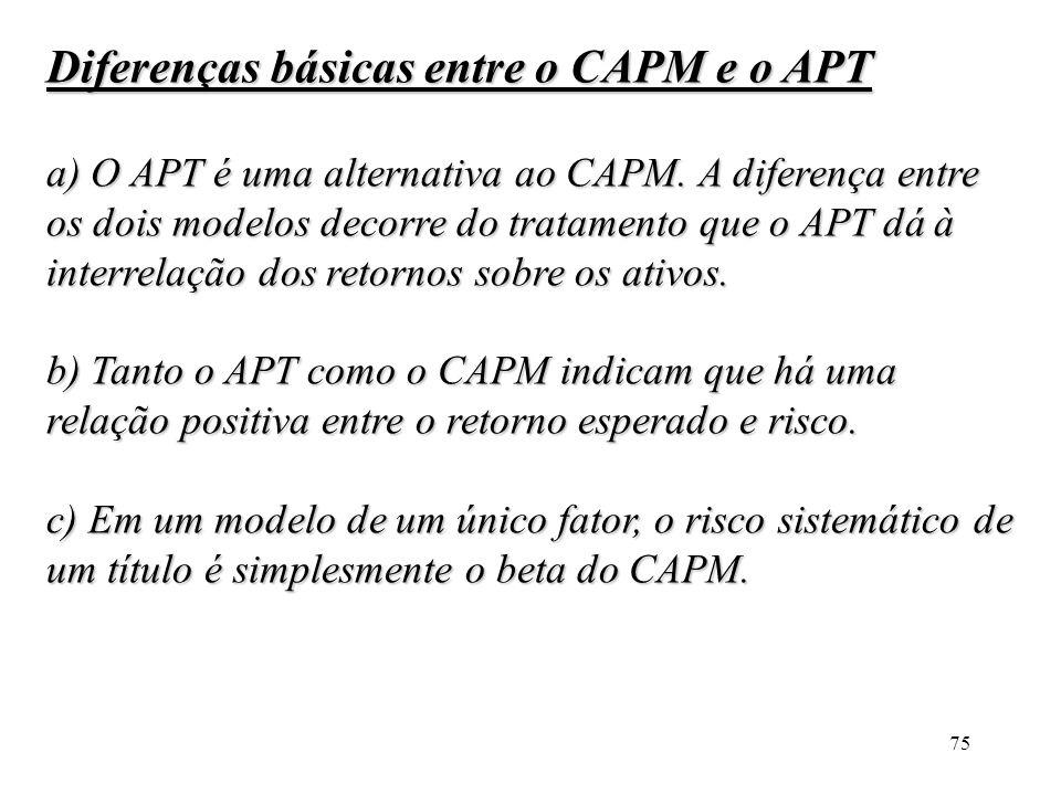 Diferenças básicas entre o CAPM e o APT
