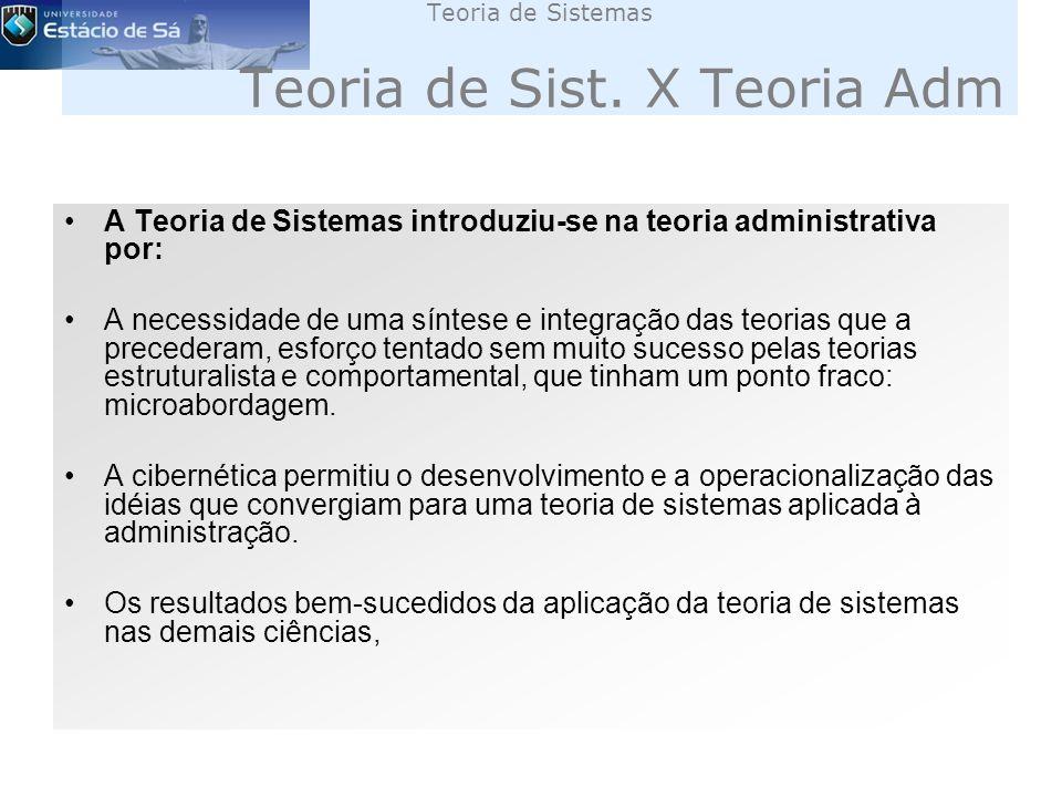 Teoria de Sistemas Teoria de Sist. X Teoria Adm