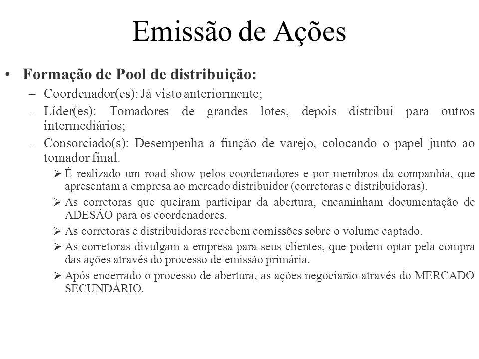 Emissão de Ações Formação de Pool de distribuição: