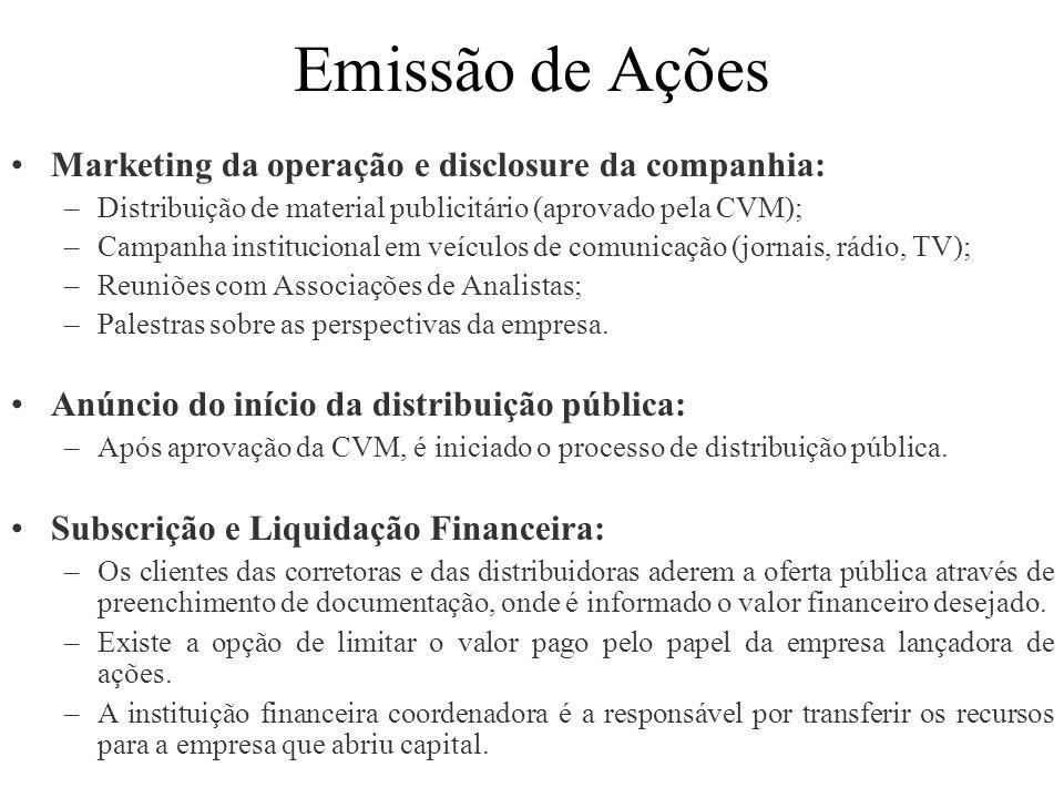 Emissão de Ações Marketing da operação e disclosure da companhia:
