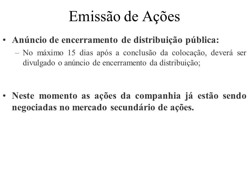 Emissão de Ações Anúncio de encerramento de distribuição pública: