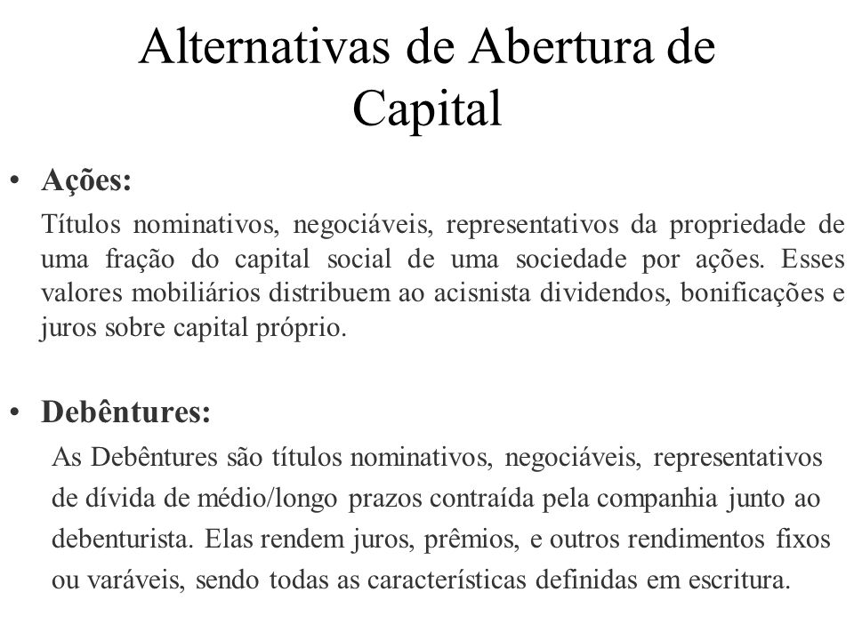 Alternativas de Abertura de Capital