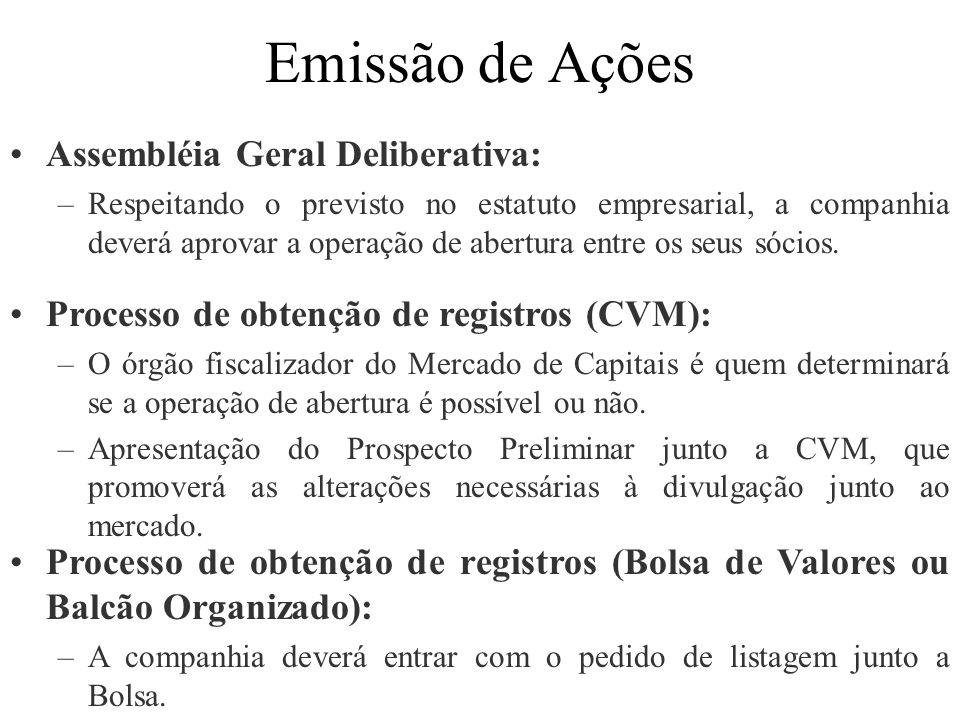 Emissão de Ações Assembléia Geral Deliberativa:
