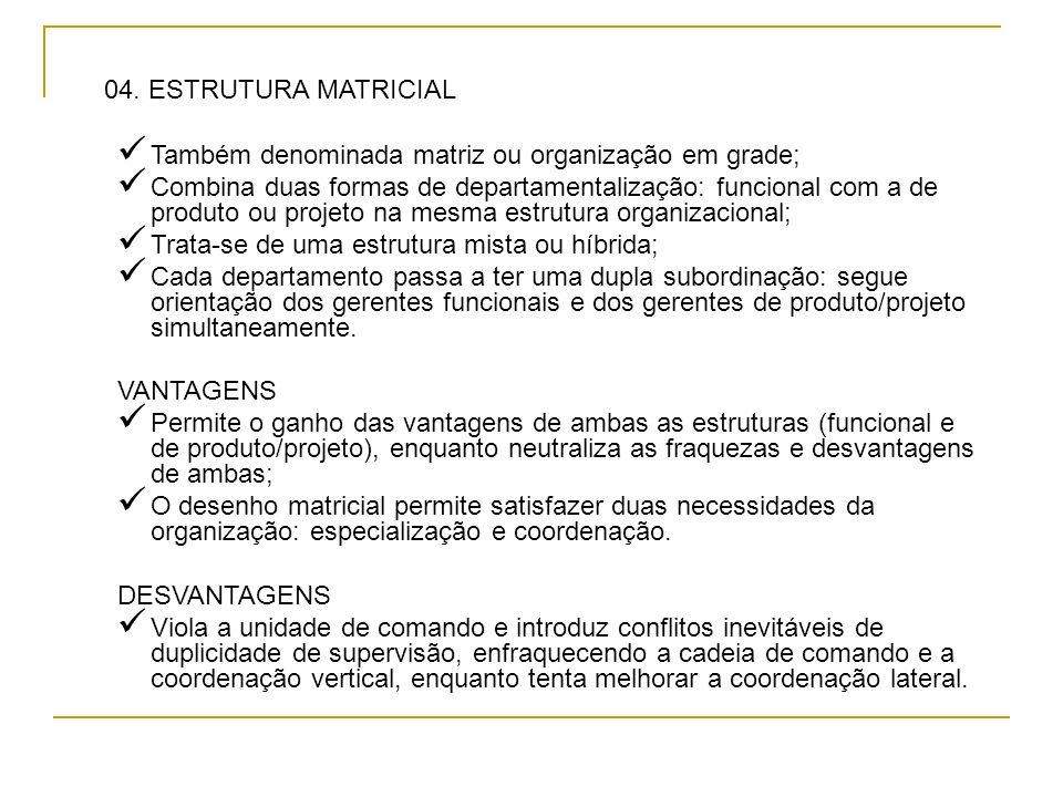 04. ESTRUTURA MATRICIAL Também denominada matriz ou organização em grade;