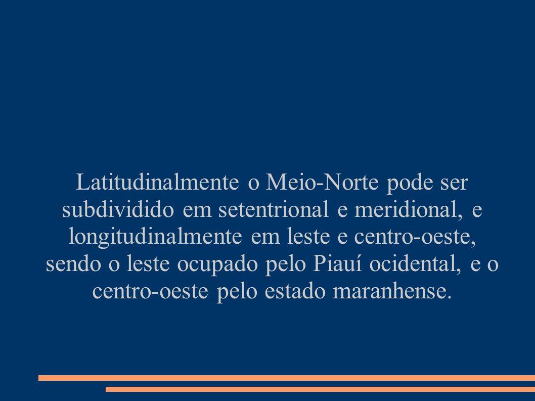 Latitudinalmente o Meio-Norte pode ser subdividido em setentrional e meridional, e longitudinalmente em leste e centro-oeste, sendo o leste ocupado pelo Piauí ocidental, e o centro-oeste pelo estado maranhense.