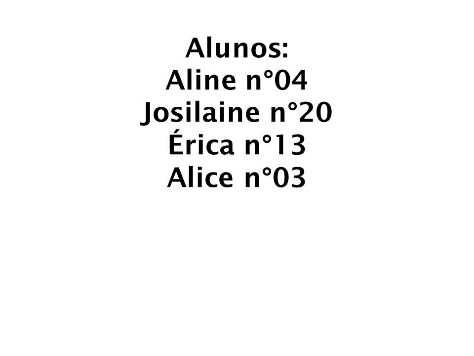 Alunos: Aline n°04 Josilaine n°20 Érica n°13 Alice n°03
