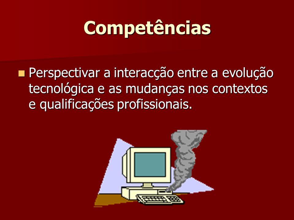 Competências Perspectivar a interacção entre a evolução tecnológica e as mudanças nos contextos e qualificações profissionais.