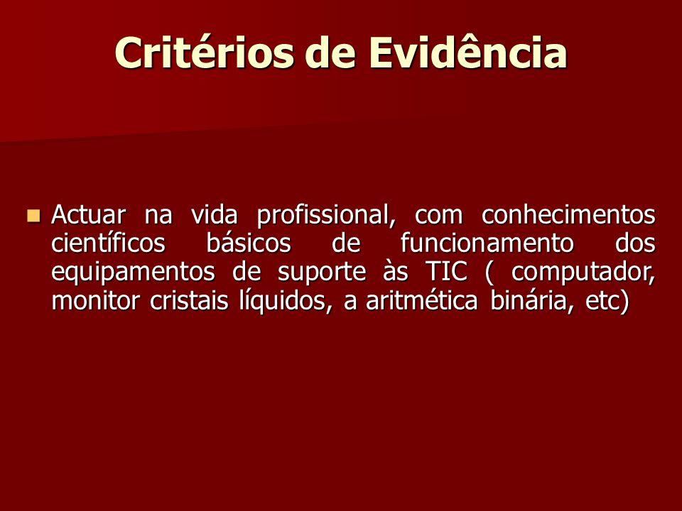 Critérios de Evidência