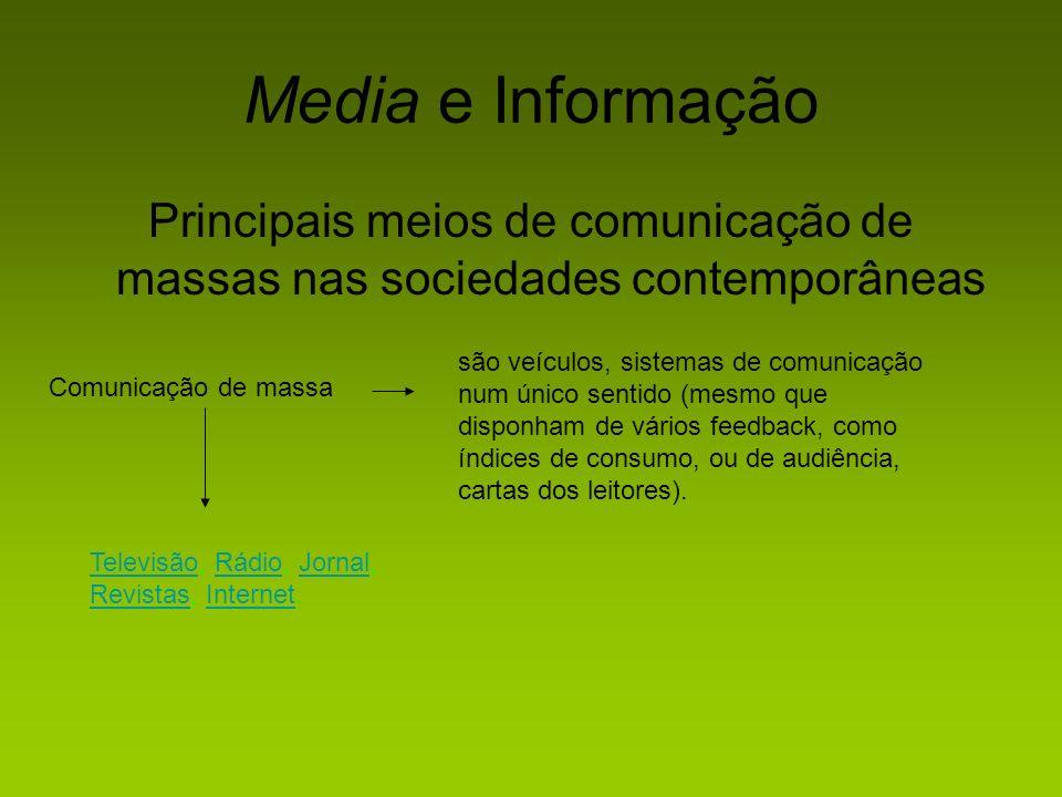 Media e Informação Principais meios de comunicação de massas nas sociedades contemporâneas.