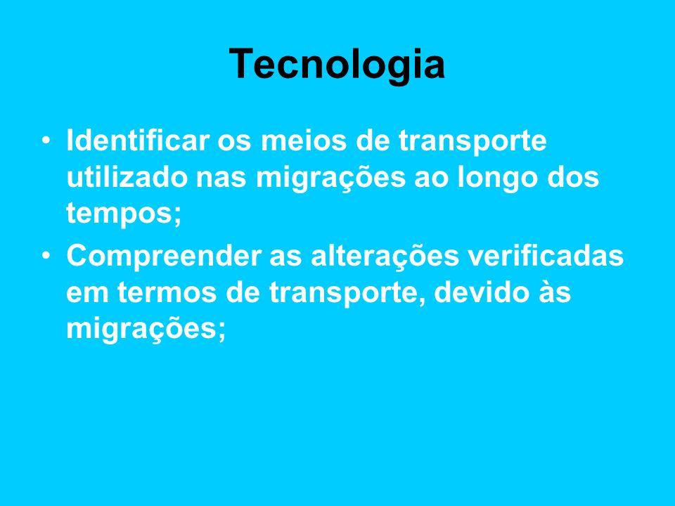 Tecnologia Identificar os meios de transporte utilizado nas migrações ao longo dos tempos;