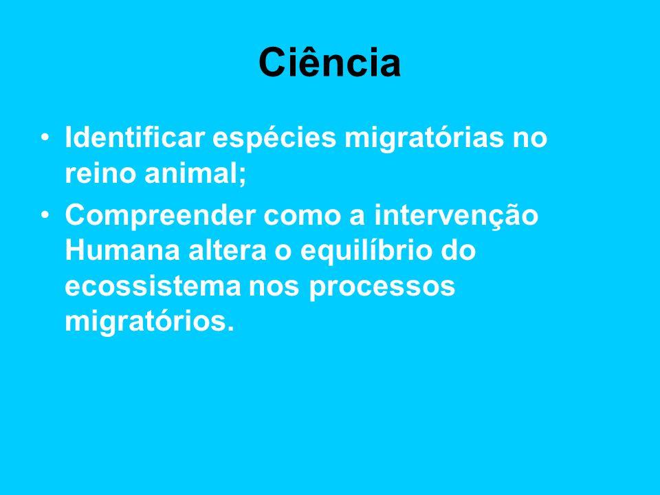 Ciência Identificar espécies migratórias no reino animal;