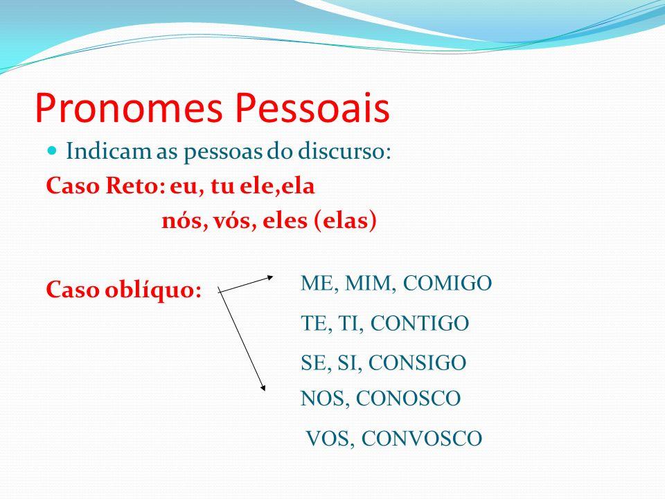 Pronomes Pessoais Indicam as pessoas do discurso: