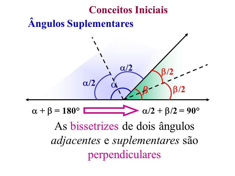 Conceitos Iniciais Ângulos Suplementares.  +  = 180°   /2. /2.  +  = 180° /2 + /2 = 90°