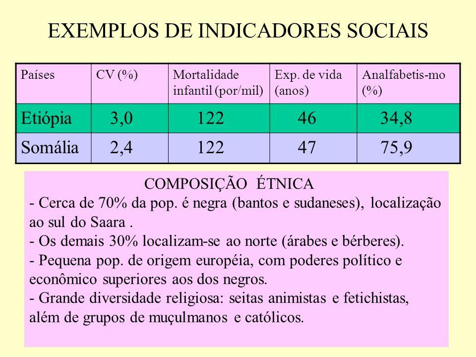 EXEMPLOS DE INDICADORES SOCIAIS