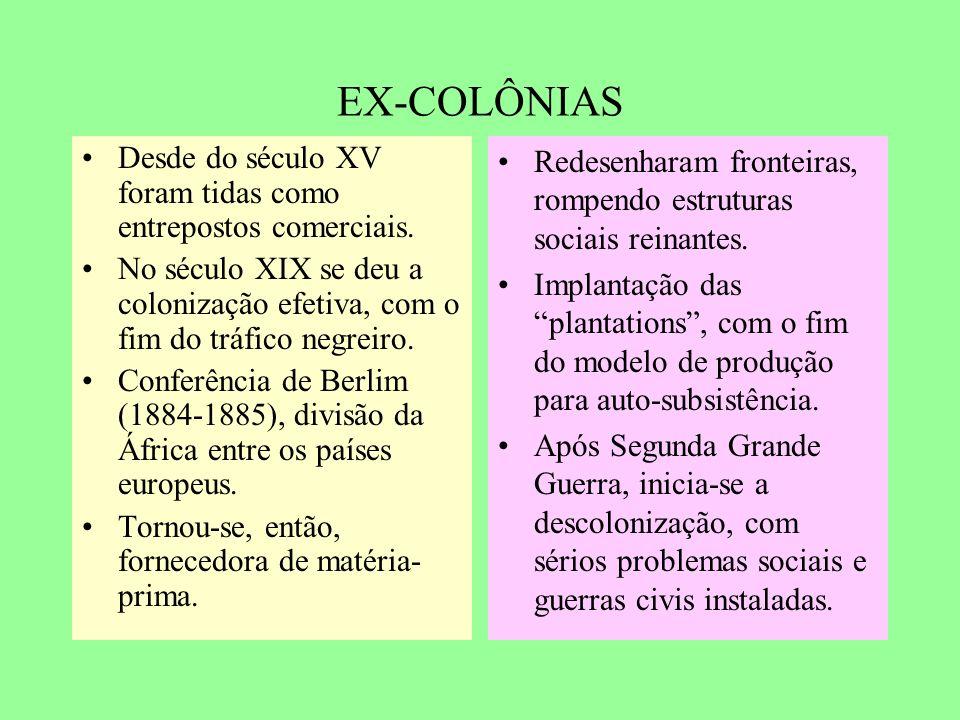 EX-COLÔNIAS Desde do século XV foram tidas como entrepostos comerciais. No século XIX se deu a colonização efetiva, com o fim do tráfico negreiro.