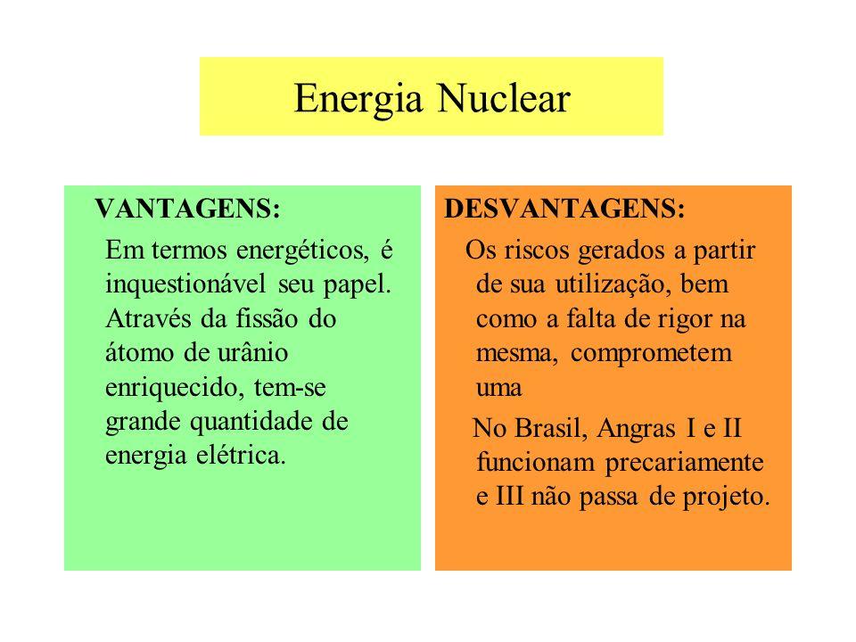 Energia Nuclear VANTAGENS: