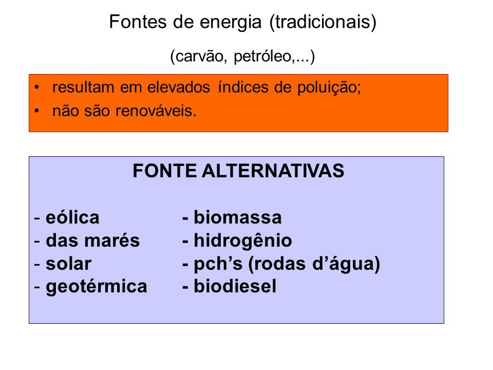 Fontes de energia (tradicionais) (carvão, petróleo,...)