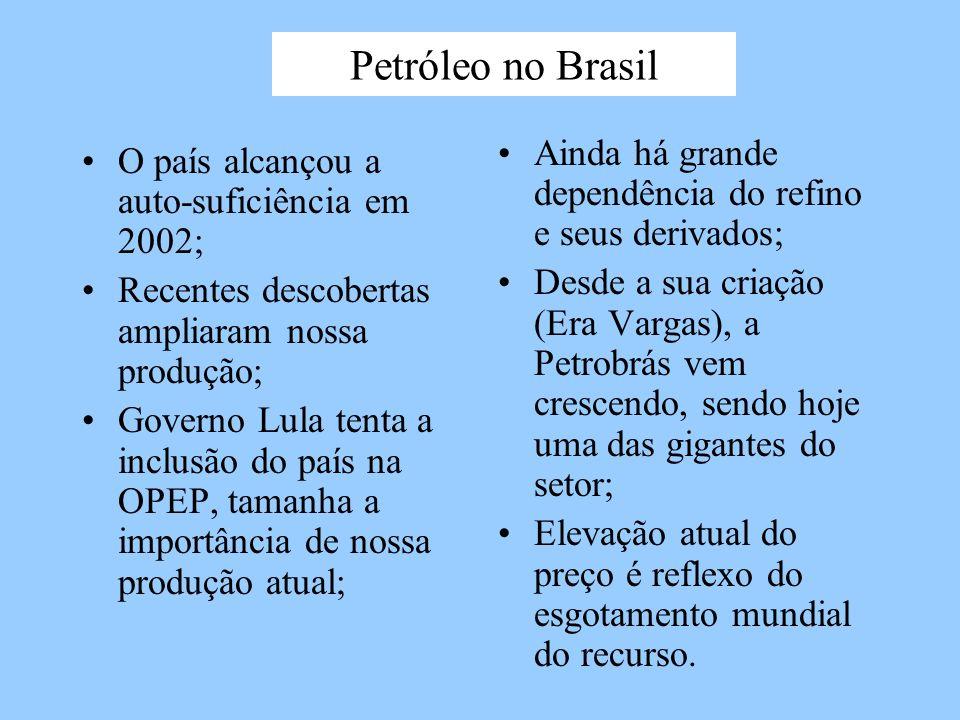Petróleo no Brasil Ainda há grande dependência do refino e seus derivados;