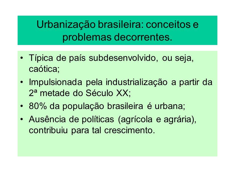 Urbanização brasileira: conceitos e problemas decorrentes.
