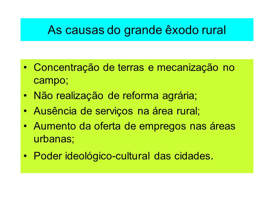 As causas do grande êxodo rural