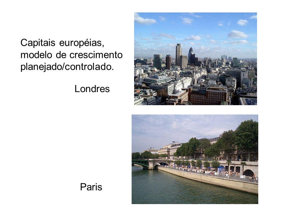 Capitais européias, modelo de crescimento planejado/controlado. Londres Paris