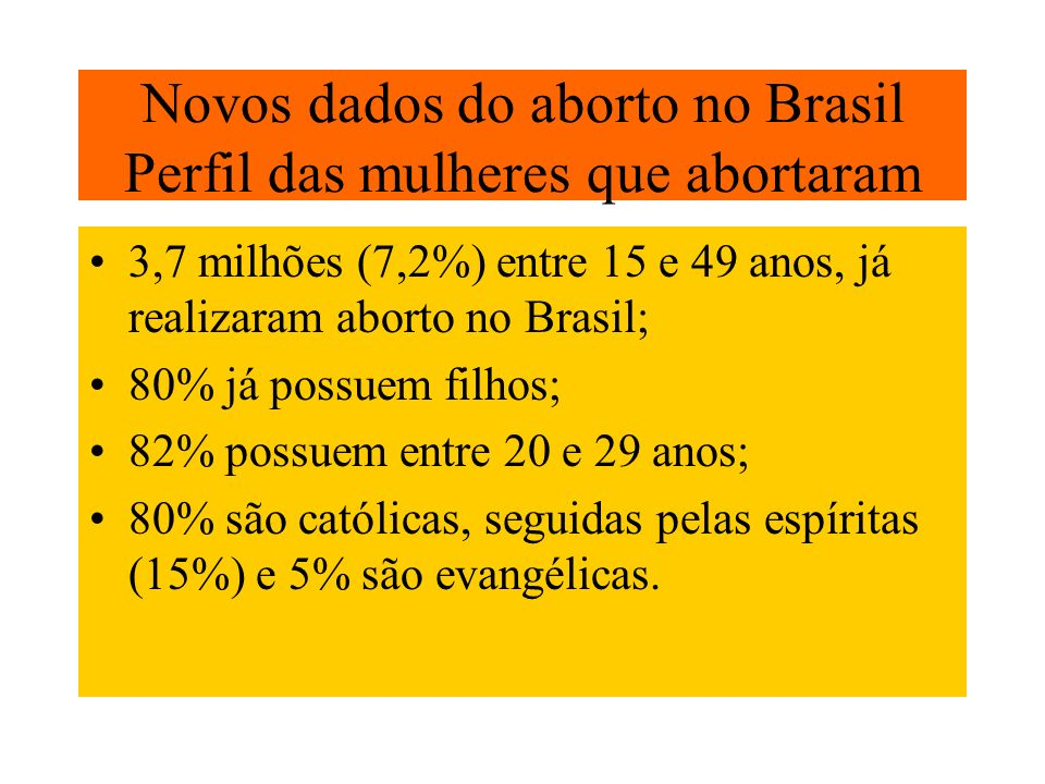 Novos dados do aborto no Brasil Perfil das mulheres que abortaram